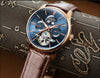 Luxury watch men Sapphire glass leather