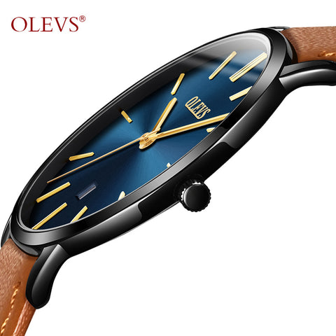 Ultra thin  Male Wristwatch Leather