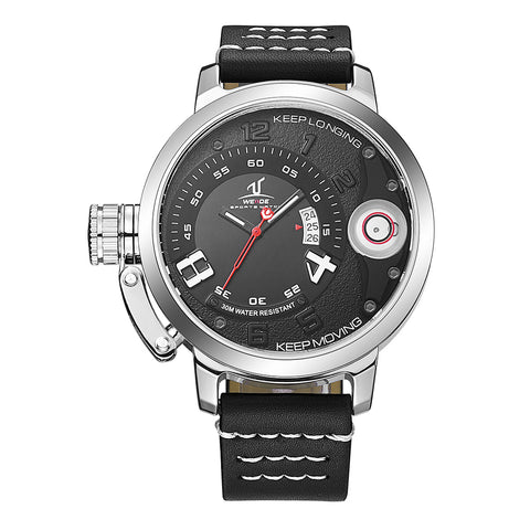 Analog Calendar Date Black Leather Strap