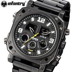 Big Dial Face Analog Digital Full Steel Watches
