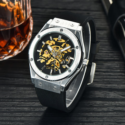 Mens Mechanical Watches Silicone Strap