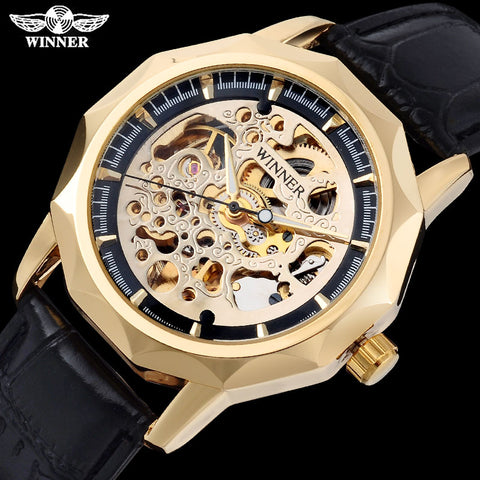 Men mechanical watches leather