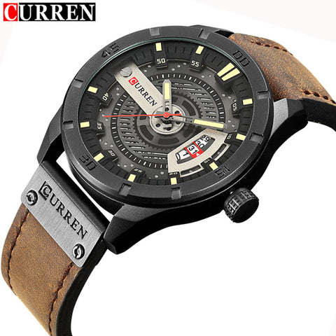 Watch Sport Military Clock Leather Strap
