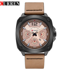 Sports Watches Leather Strap Military Army