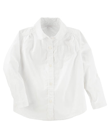 Peter Pan Collar Button-Front Uniform Shirt