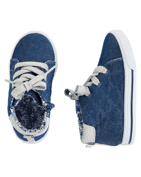 Chambray High-Top Sneakers