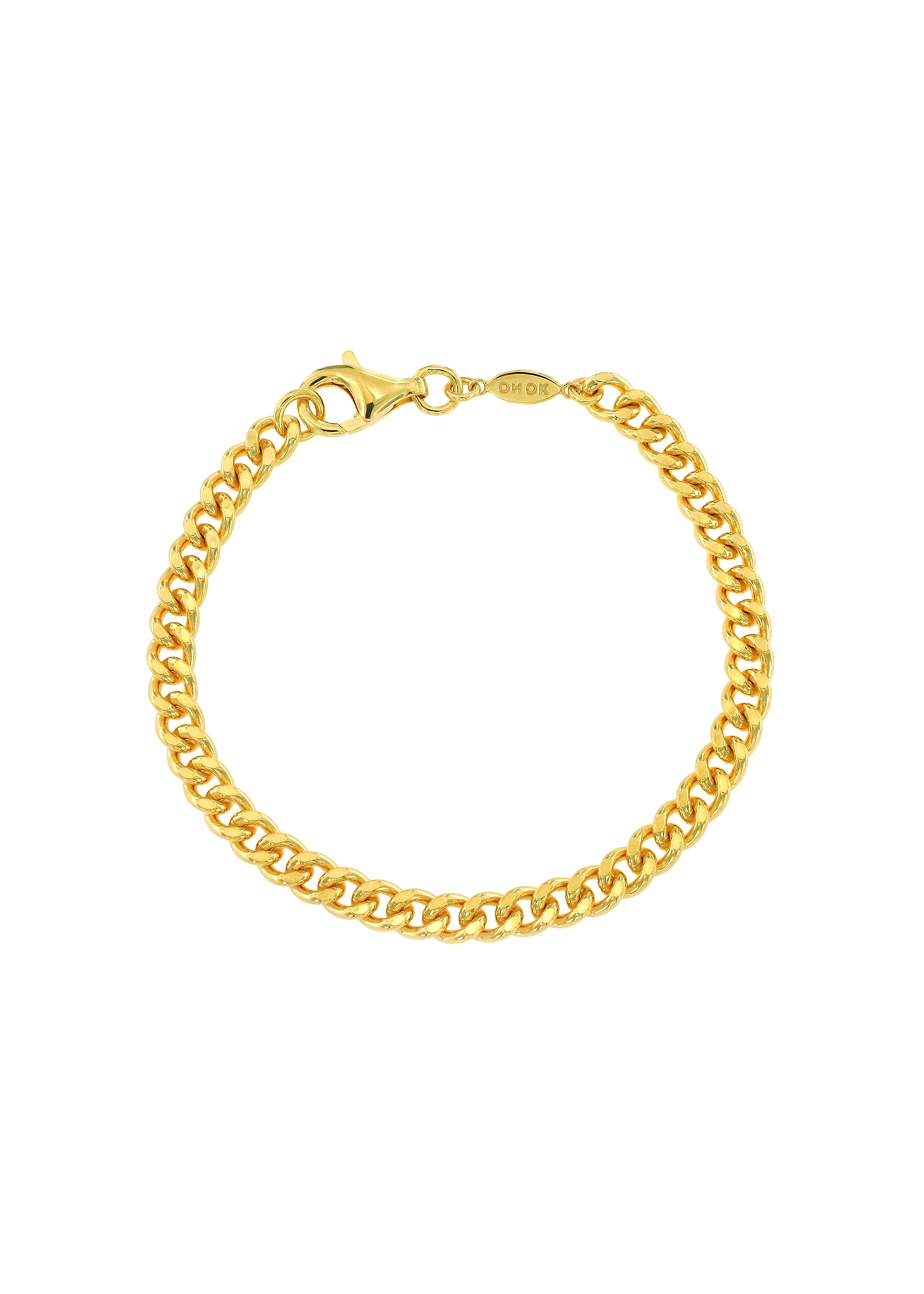 Flat Curb Chain Bracelet Gold