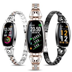 Ladies Stainless Steel Smartwatch with Step Counter for Android & IOS