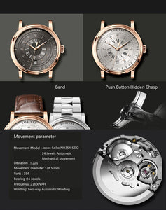 New LOBINNI Men Watches Top Luxury Brand Japan Import NH35A SII O Auto Mechanical MOVT Men's Clock Sapphire reloj hombre L1018-1