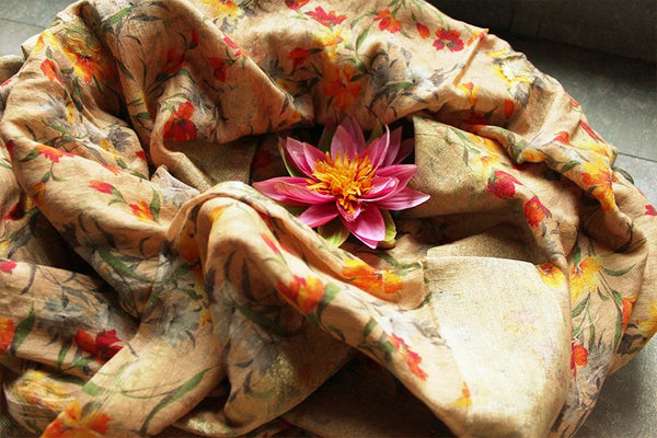 Handwoven Linen Golden Yellow Floral Printed Sari - WeaveinIndia, Sari - Sari, weaveinindia - WeaveinIndia