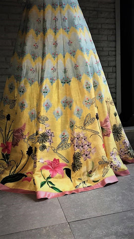 Handcrafted Digitally Printed Sunshine Yellow Lehenga