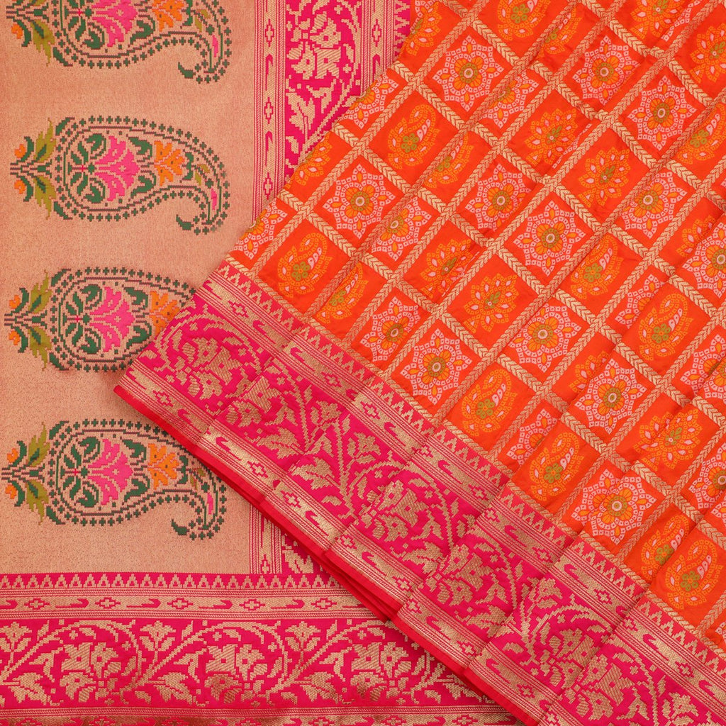 Orange Banarasi Silk Saree - WeaveinIndia