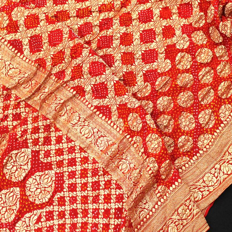 Chilli-Red Bandhani Saree - WeaveinIndia