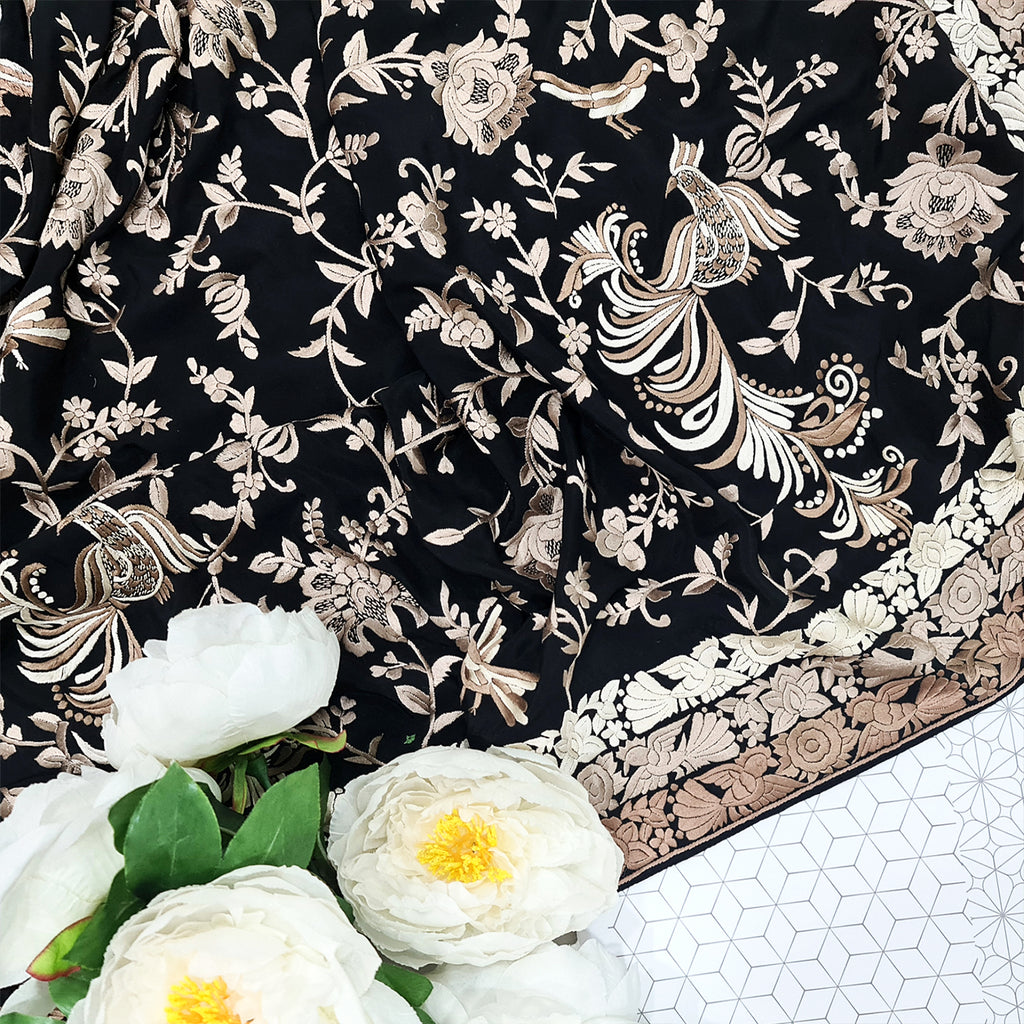 Black Hand Embroidered Parsigara Saree - Pre Order