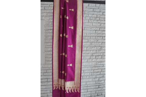 Handwoven Banarasi Mulberry Purple Silk Dupatta