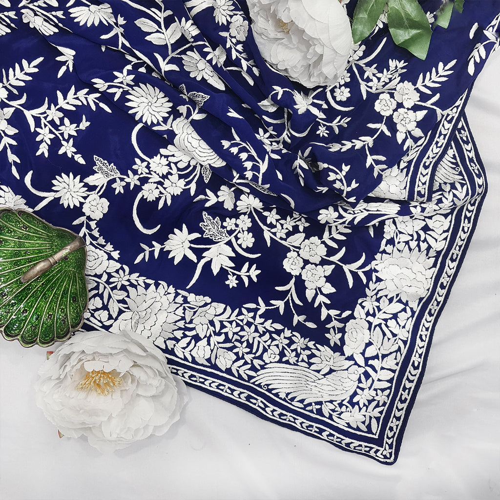 Ink Blue Hand Embroidered Parsigara Saree - Pre Order