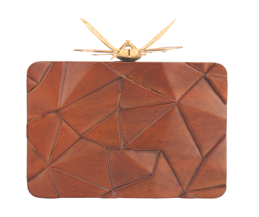 Duet Luxury Assymetrical Wooden Dragonfly clutch