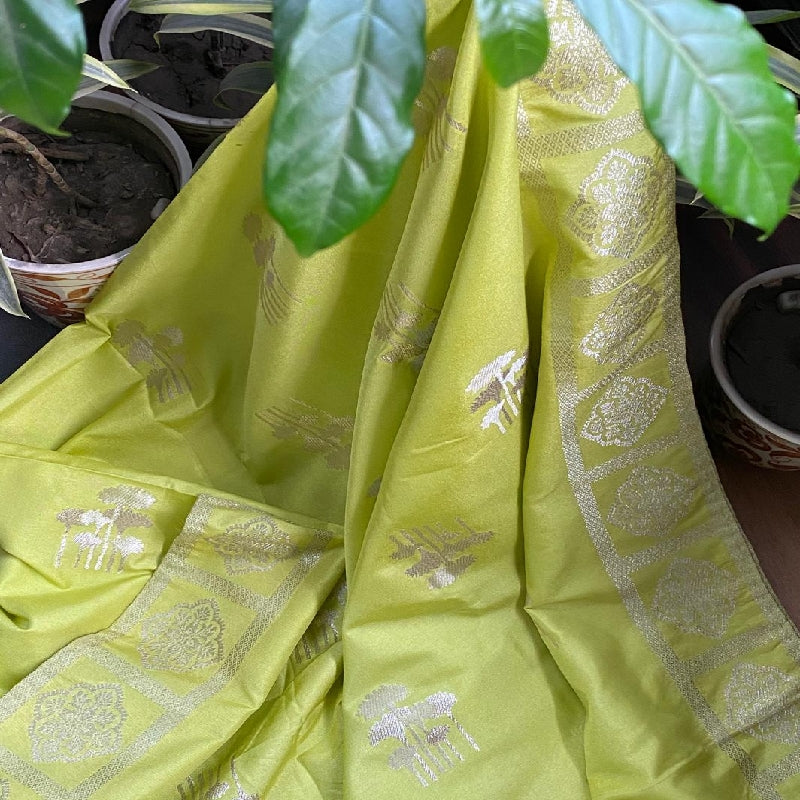 Lime Green Banarasi Silk Dupatta