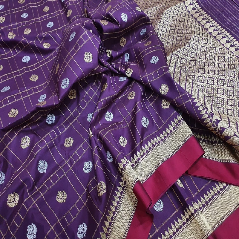 Royal Purple Banarasi Silk Saree