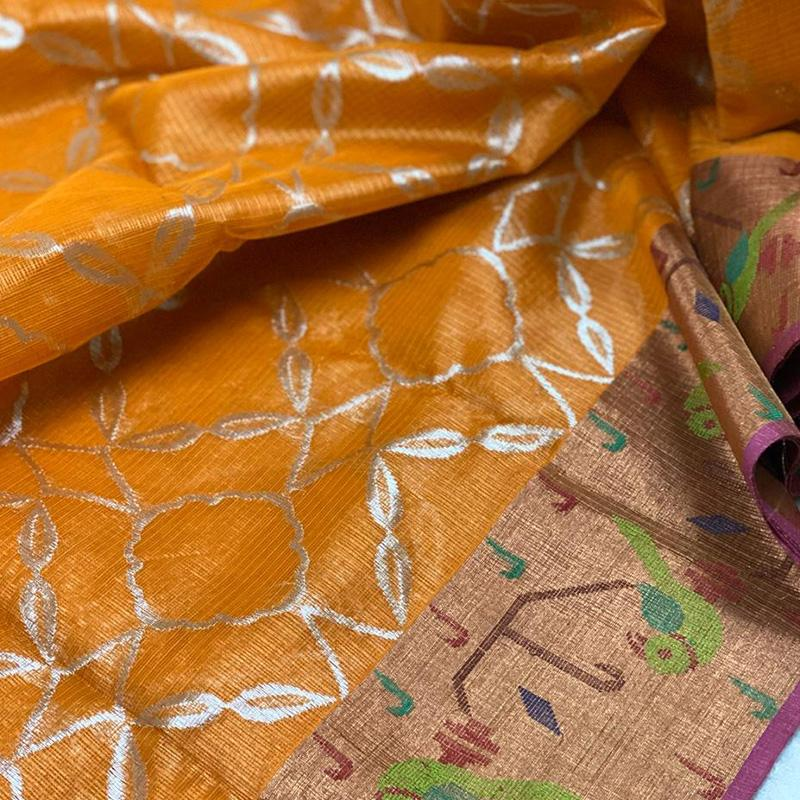 Orange Kota Silk Saree - WeaveinIndia