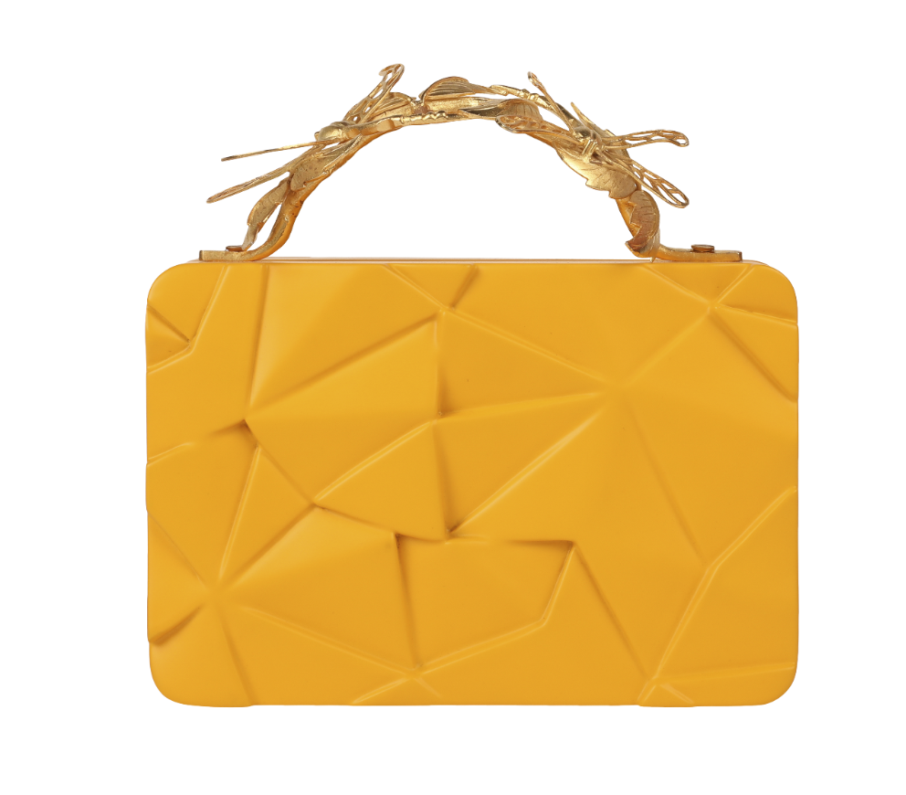 Duet Luxury Dragonfly Assymetric Yellow Grasshopper Clutch