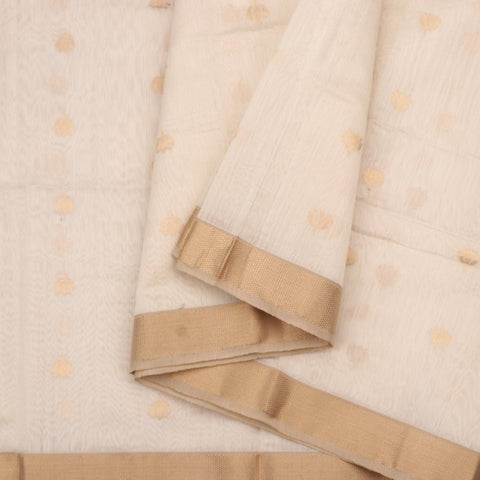 Handwoven Offwhite And Gold Butta Work Jamdani Unstitched Silk Fabric - WIIMARMWMF - Cover View