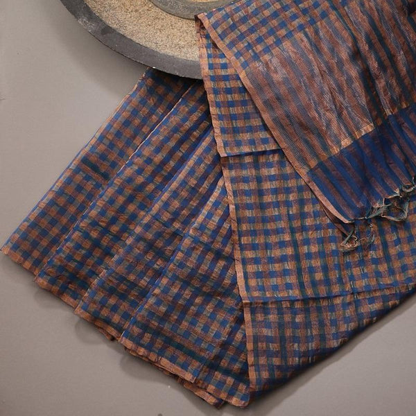 Handwoven Gold and Navy Blue Checks Silk Cotton Chanderi Dupatta - WIIAPRI CCSD 02 - Design View