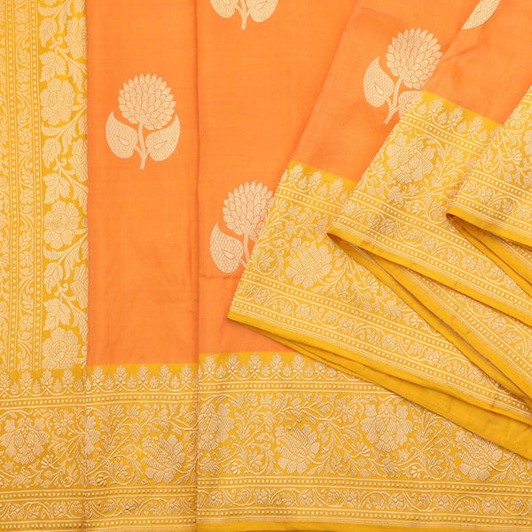 Handwoven Carrot Orange Banarasi  Katan Tissue Silk Sari - WIIBT0083 - Cover View