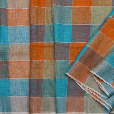 Handwoven Checkered Linen Sari - WIISK0051(3) - Cover View