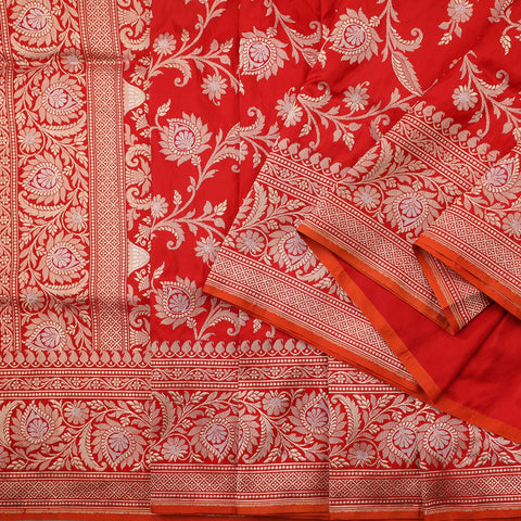 Handwoven Chilli Red Banarasi Silk Sari - PREBAN002 - Cover View