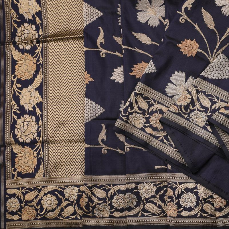 Handwoven Indigo Banarasi Silk Sari - WIIBT0100 - Cover View