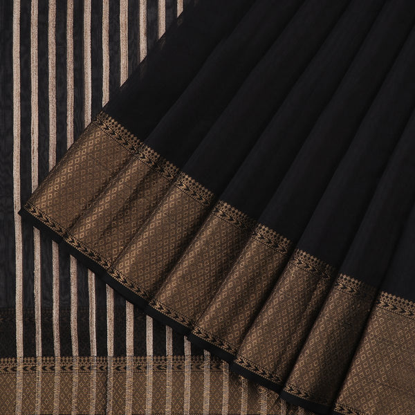 Handwoven Black Maheshwari Silk Cotton Sari-WIIGS034- Cover View