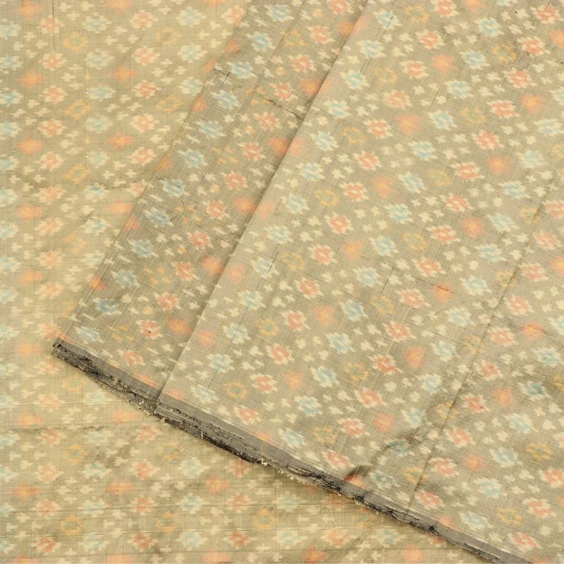 Handwoven Olive Green Single Ikat Silk Unstitched Fabric-WIIGS065- Cover VIew