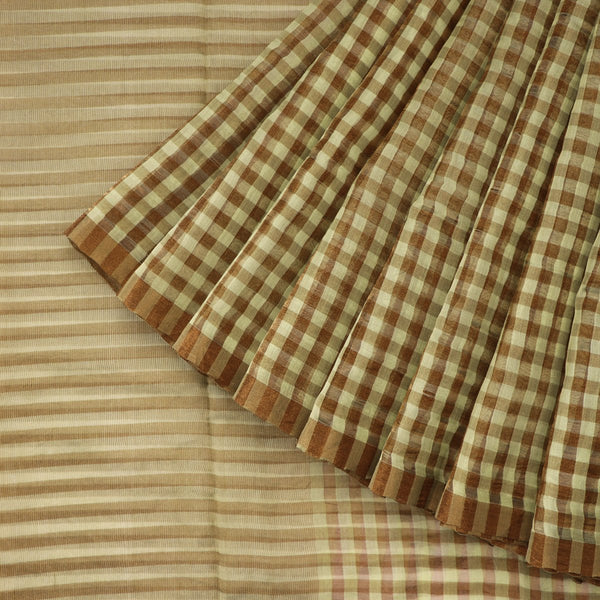 Handwoven Pista Green And Brown Checks Silk Cotton Chanderi Sari - WIIAPRI CTSR0002 - Cover View