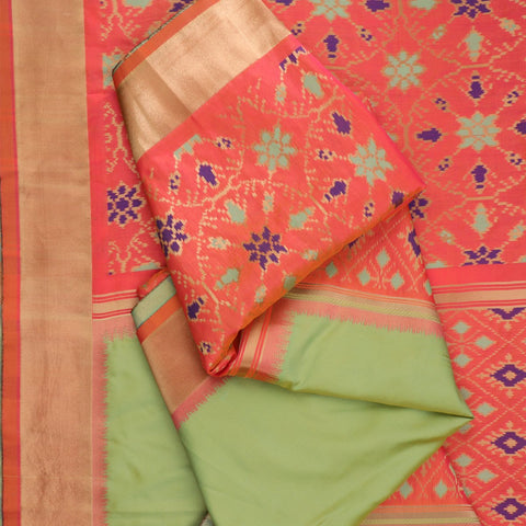 Handwoven Mint Green Single Ikat Rajkot Dupatta - WIISHNIKARIDNAM0089 - Fold View