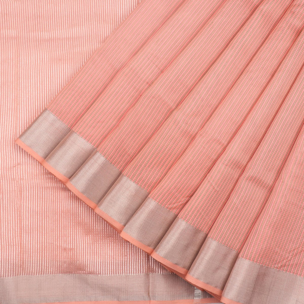 HANDWOVEN PEACH CHANDERI SILK SARI-WIIAPRICSTS02- Cover View