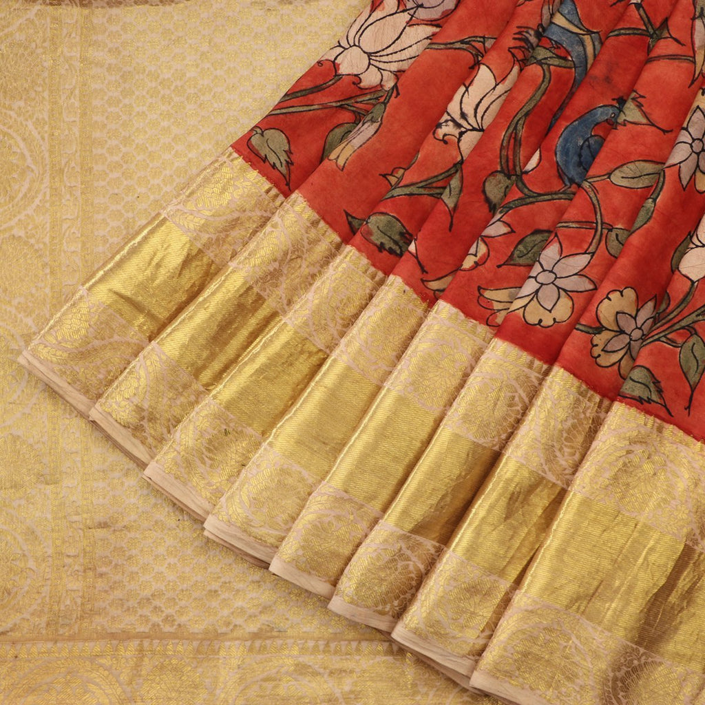 Handwoven Rust Kalamkari Silk Sari-WIIGS057- Cover View