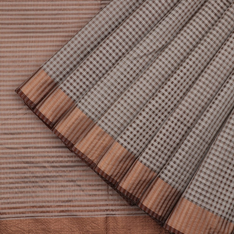 HANDWOVEN BROWN CHANDERI SILK SARI-WIIAPRICCSR02- Cover View