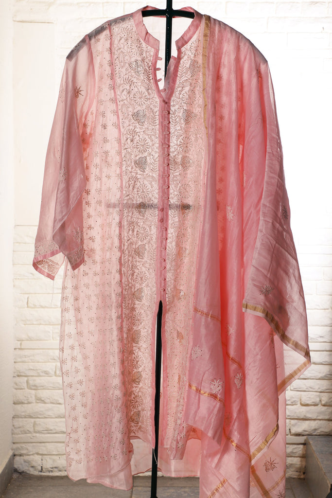Pink Semi Stitched Chanderi Suit