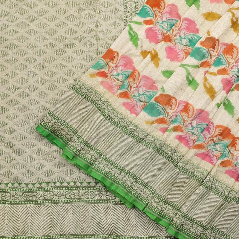 Mint Green Georgette paithani silk saree - WeaveinIndia