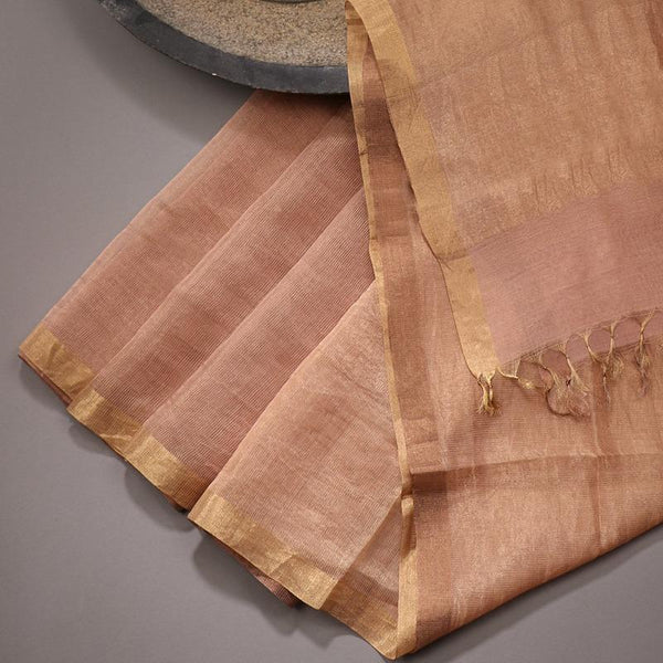 Handwoven Gold Pinstripes Silk Cotton Chanderi Dupatta - WIIAPRI CCSD 04 - Design View