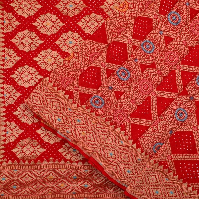 Red Meenakari Bandhani Saree