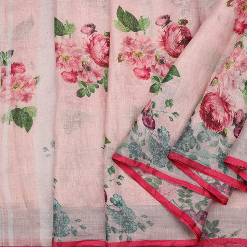 Handwoven Baby Pink Printed Linen Sari - WIIATY012 - Cover View