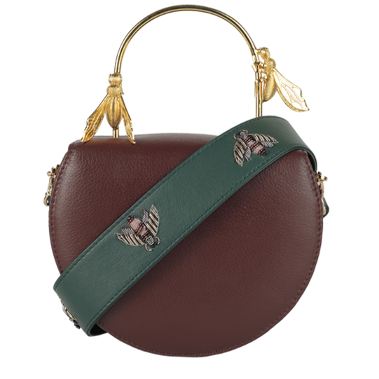 Duet Luxury Colony Burgundy Hive Clutch/ Emerald Vespa Strap