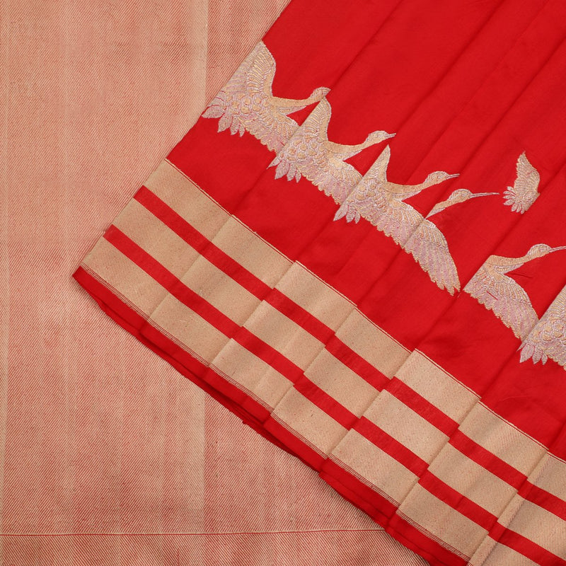 Chilli Red Banarasi Silk Saree - WeaveinIndia