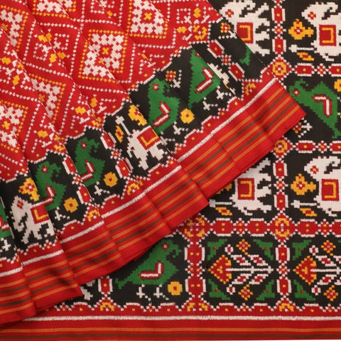 Handwoven Red Double Ikat Patan Patola Vohra Gaji Silk Sari - WIIPP040(4) - Cover View