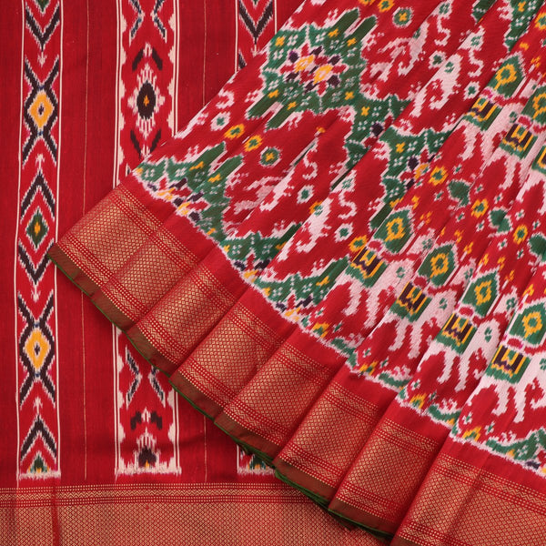 Handwoven Vermilion Red Single Ikat Twill Silk Sari With Kanjivaram Border-WIIGS033 - Cover View