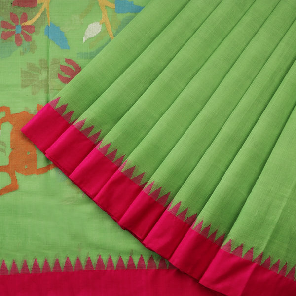 Handwoven Parrot Green Jamdani Cotton Silk Sari - WIIGS015 - Cover View