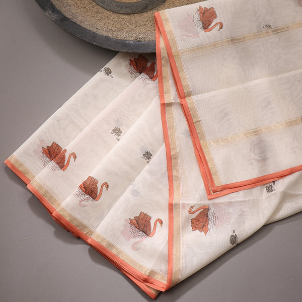 Handwoven Ecru Swan Print Silk Cotton Chanderi Dupatta - WIIAPRI CPRD 06 - Design View