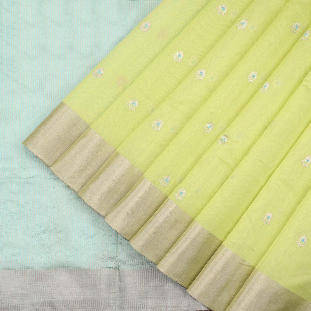 HANDWOVEN  PARROT GREEN CHANDERI SILK EK NALIYA BUTTI SARI-WIIAPRICEBS 02- Cover View